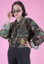 Load image into Gallery viewer, Vintage Reworked Army Jacket in Camo Print with Patches in M/L