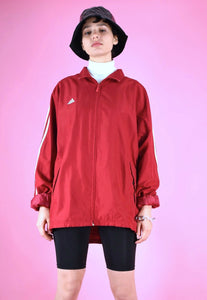 Vintage 90s Adidas Track Jacket Red With White Stripes in M/L