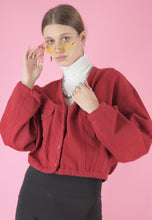 Load image into Gallery viewer, Vintage 80s Denim Jacket in Red Cropped with Butterfly Cut in M