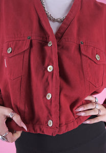 Vintage 80s Denim Jacket in Red Cropped with Butterfly Cut in M
