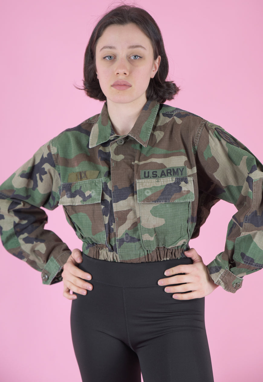 Vintage Reworked Army Jacket Green Brown Camouflage Print in S/M