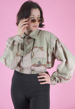 Load image into Gallery viewer, Vintage Reworked Army Jacket in Light Green Beige Camo Print in S/M