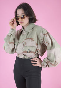 Vintage Reworked Army Jacket in Light Green Beige Camo Print in S/M