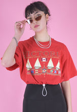 Load image into Gallery viewer, Vintage Reworked Crop Top T-Shirt in Red with Boat Print in M