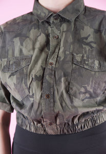 Vintage Reworked Army Shirt Short Sleeved in Camo Print in M