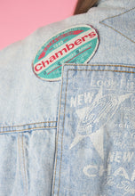 Load image into Gallery viewer, Vintage Denim Jacket in Blue Light Wash with Patches in M