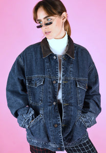 Vintage 90s Denim Jacket in Blue with Warm Flannel Lining in M/L