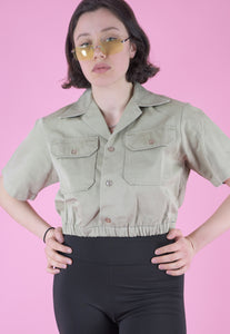 Vintage Reworked Army Shirt in Beige Cream Short Sleeved in S