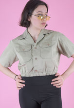 Load image into Gallery viewer, Vintage Reworked Army Shirt in Beige Cream Short Sleeved in S