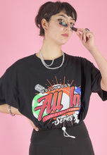 Load image into Gallery viewer, Vintage Reworked Crop Top in Black with Hollywood Print in M