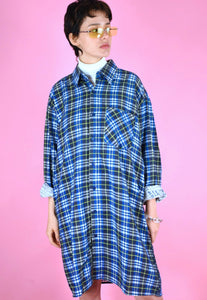 Vintage 90s Flannel Shirt Dress in Blue Yellow with Check in M/L