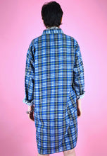 Load image into Gallery viewer, Vintage 90s Flannel Shirt Dress in Blue Yellow with Check in M/L