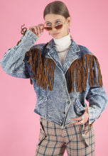 Load image into Gallery viewer, Vintage 80s Denim Jacket in Blue with Leather Fringe Acid in M