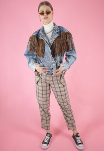 Vintage 80s Denim Jacket in Blue with Leather Fringe Acid in M