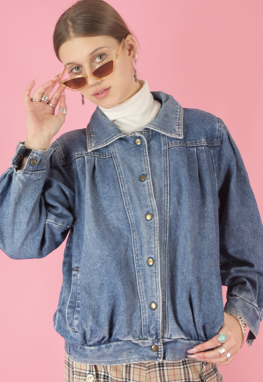 Vintage 90s Denim Jacket Bomber in Blue with Pockets in S