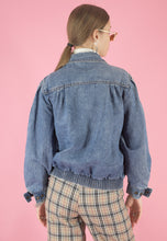 Load image into Gallery viewer, Vintage 90s Denim Jacket Bomber in Blue with Pockets in S
