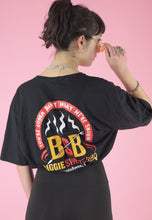 Load image into Gallery viewer, Vintage Reworked Crop Top in Black with BBQ Print in M/L