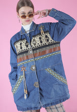 Load image into Gallery viewer, Vintage Denim Jacket with Shape Patterns and Tassel Detail in M/L