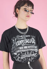 Load image into Gallery viewer, Vintage Reworked Crop Top in Black with Hamburg Print in S