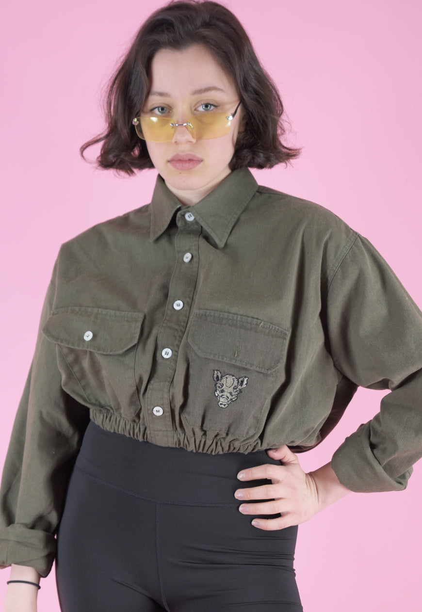 Vintage Reworked Crop Army Shirt in Green with Hog Patch in S/M