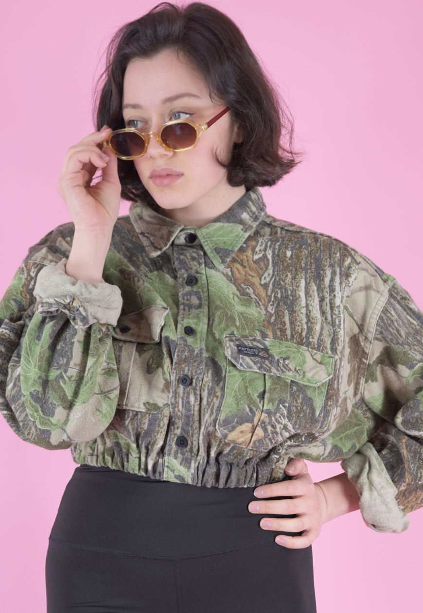 Vintage Reworked Crop Jacket Original US Army in Faded Camo in S/M