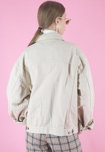 Vintage Denim Jacket in Beige with Classic Cut in M/L