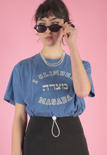 Load image into Gallery viewer, Vintage Reworked Crop Top in Blue with Masada Print in S