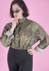 Vintage Reworked Crop Jacket Original US Army in Brown Camo in S/M