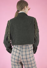Load image into Gallery viewer, Vintage Denim Jacket in Green with Tassel and Beaded Details in S