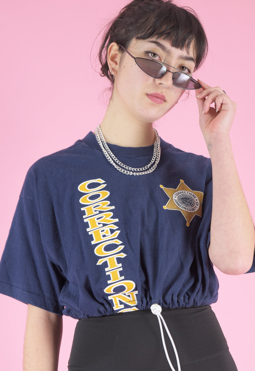 Vintage Reworked Crop Top in Navy with Corrections Print in M