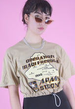 Load image into Gallery viewer, Vintage Reworked Crop Top in Beige with Arm Strong Print in S/M