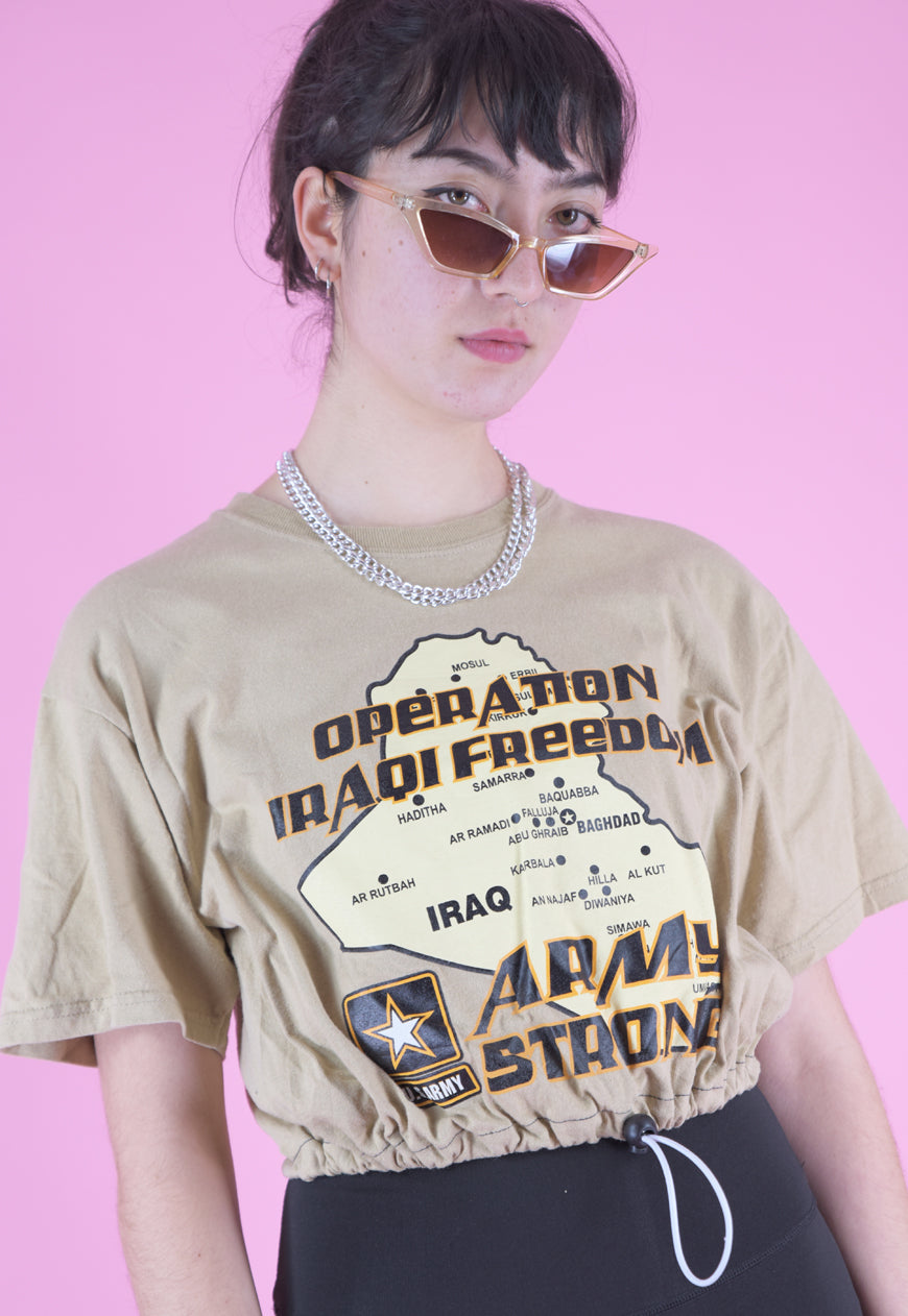 Vintage Reworked Crop Top in Beige with Arm Strong Print in S/M