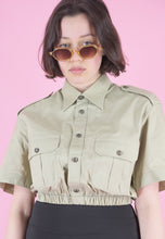 Load image into Gallery viewer, Vintage Reworked Crop Short Sleeve Shirt in Beige in S