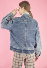 Load image into Gallery viewer, Vintage Denim Jacket Bomber in Light Blue Wash in S/M