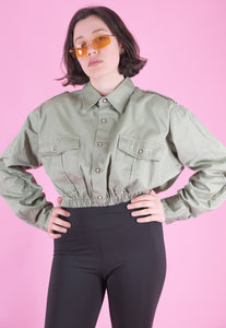 Vintage Reworked Crop Shirt in Faded Army Green in S/M