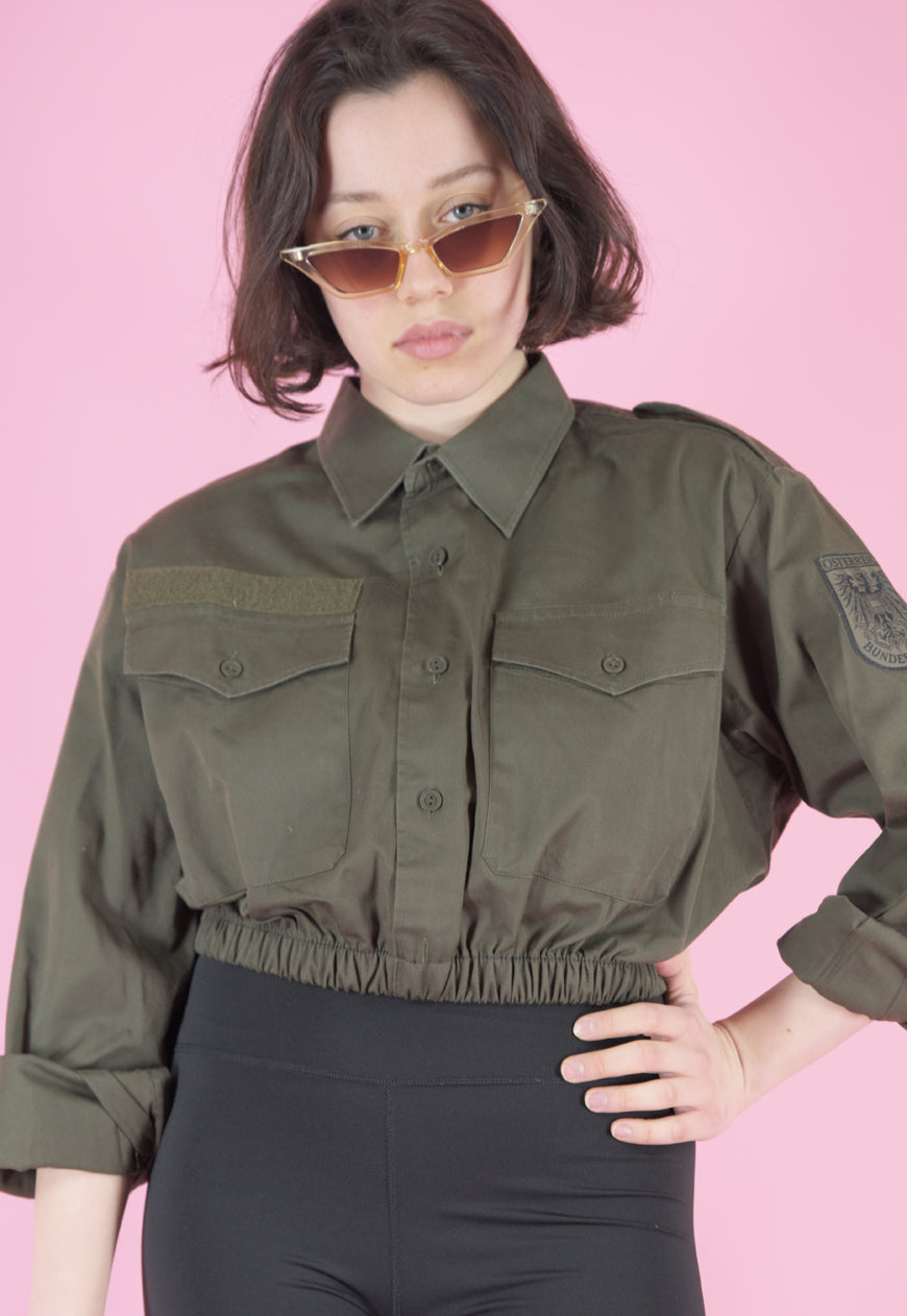 Vintage Reworked Crop Shirt in Green with Embroidered Patch in S