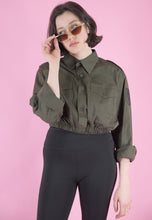 Load image into Gallery viewer, Vintage Reworked Crop Shirt in Green with Embroidered Patch in S