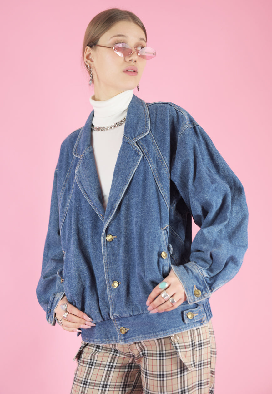 Vintage Denim Jacket Bomber in Blue with Gold Buttons in M