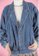 Load image into Gallery viewer, Vintage Denim Jacket Bomber in Blue with Gold Buttons in M