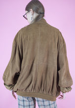Load image into Gallery viewer, Vintage Leather Jacket Bomber in Brown Suede with Pockets in L