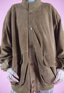 Vintage Leather Jacket Bomber in Brown Suede with Pockets in L