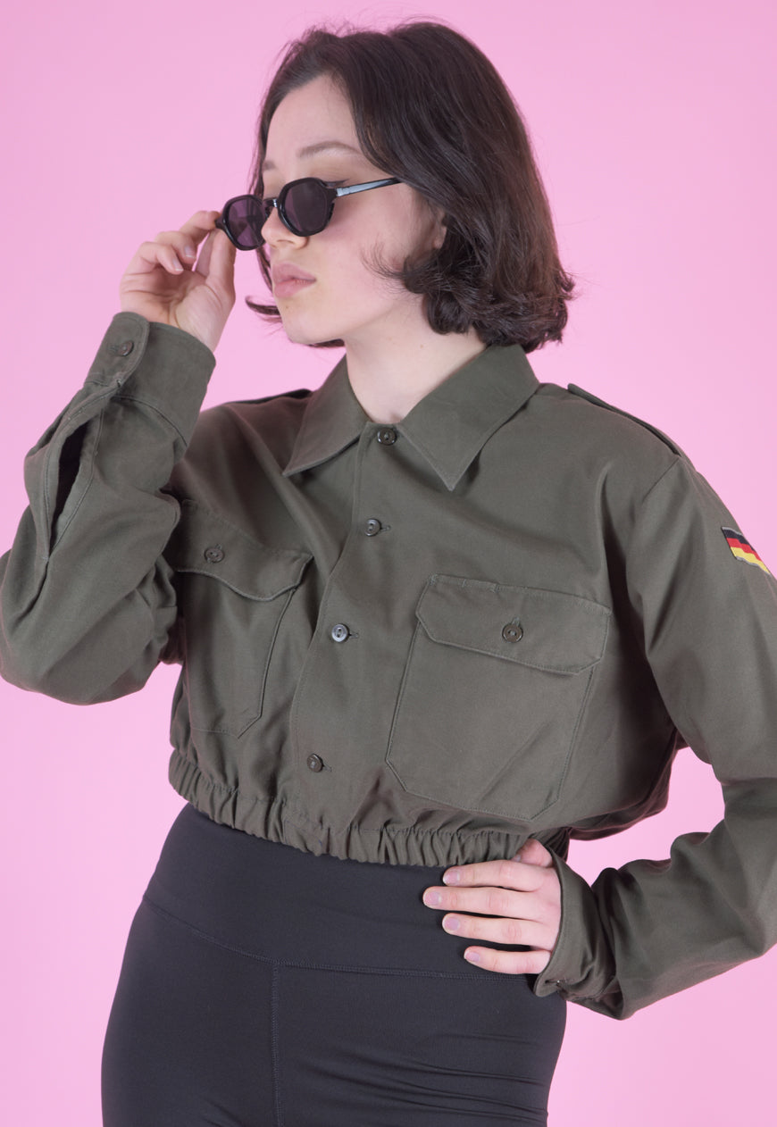 Vintage Reworked Crop Shirt in Green with Embroidered Flag in S