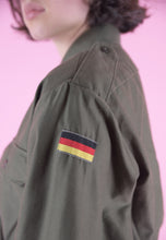 Load image into Gallery viewer, Vintage Reworked Crop Shirt in Green with Embroidered Flag in S