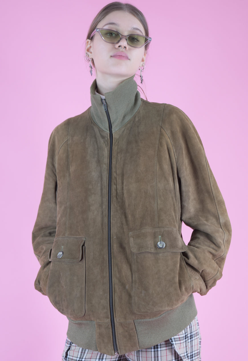 Vintage Leather Jacket Bomber in Brown Suede with Zipper in M