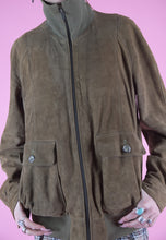Load image into Gallery viewer, Vintage Leather Jacket Bomber in Brown Suede with Zipper in M