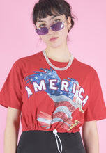 Load image into Gallery viewer, Vintage Reworked Crop Top in Red with America Eagle Print in S