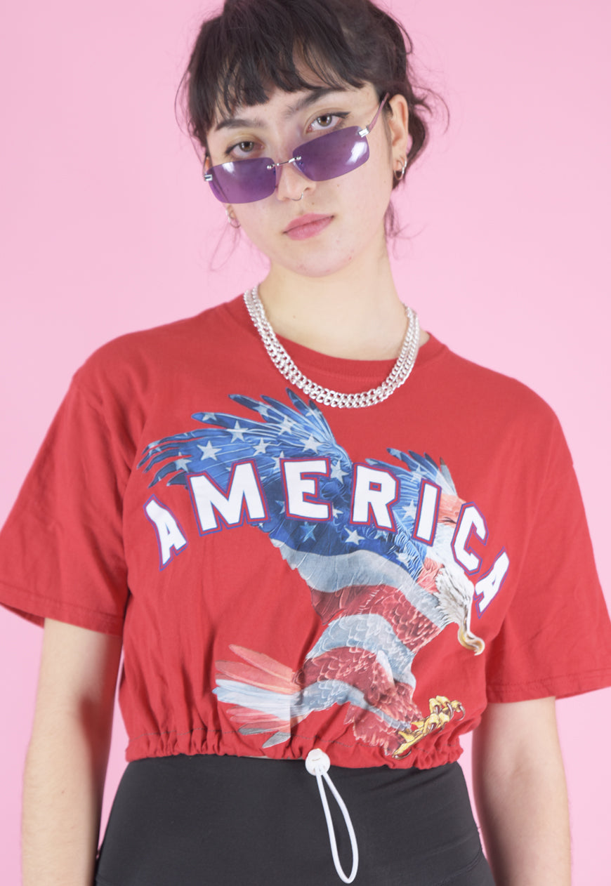 Vintage Reworked Crop Top in Red with America Eagle Print in S