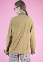 Load image into Gallery viewer, Vintage Leather Jacket Bomber in Beige with Zipper in M