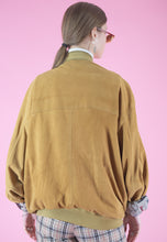 Load image into Gallery viewer, Vintage Leather Jacket Bomber in Camel Beige with Zippers in M/L