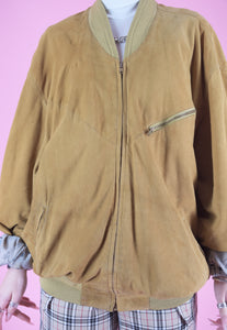 Vintage Leather Jacket Bomber in Camel Beige with Zippers in M/L